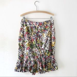 Anthropologie Floral Pencil Skirt Ruffle 10